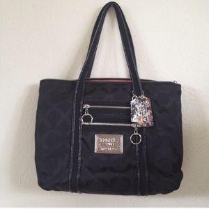 Coach 'C' Poppy Black Tote Shoulder Bag